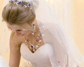 Wedding set for bride Bridal headband  Floral Hairpiece Flower Headband For Bridal Floral wreath necklace bridesmaid earrings wedding