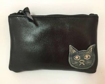 Cat Leather Coin purse Little zipper Pouch