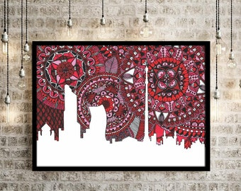 Moscow Poster, Skyline, Russia, Zentangle, Doodle, Digital Print, Home Decore, Art, Collection, Gift, Red, City Silhouette, Kremlin