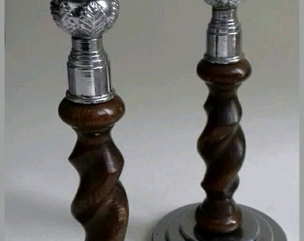 Pair Of Vintage Wood and Chrome Closed Barley Twist Candlesticks