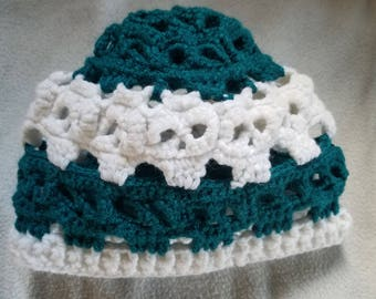 Skull Beanie, Teal And White, Child Hat