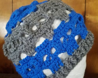 Skull Beanie, Blue and Gray, Adult Hat