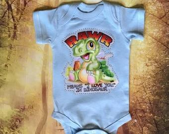 Rawr Means I Love You In Dinosaur Bodysuit, Dinosaur Bodysuit, Baby Boy Clothes, Baby Girl Clothes