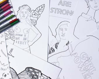 Lot 8 Poster feminists coloring paper Version / feminist Slogans / coloring / Girl power / Colorings