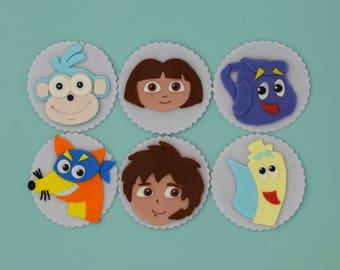 Dora Explore Fondant Cupcake Toppers
