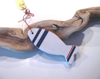 Deco Navy - small fish white painted wood.