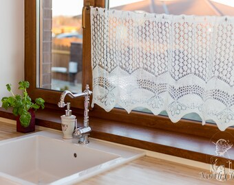 DISCOUNT %: White Knitted Lace Curtain / Lace Home Decor and Accessory