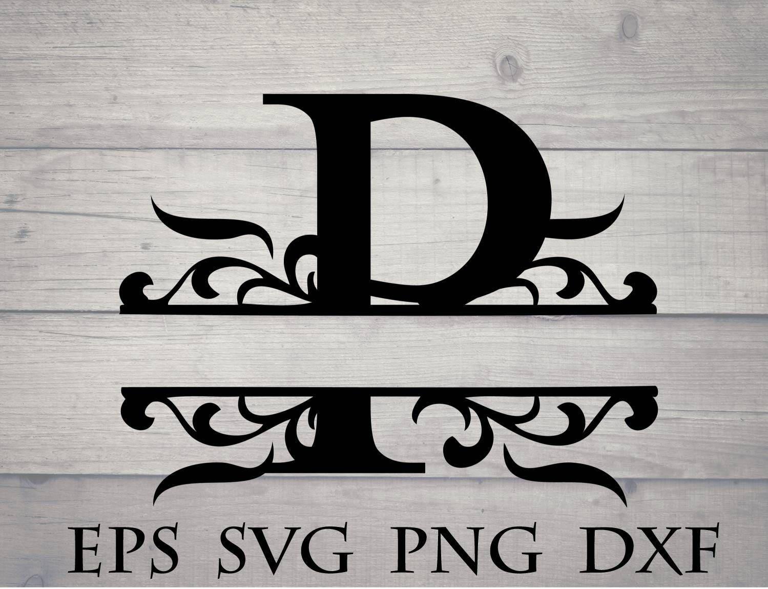 Split P Home Decor: Split Initial Svg / Split Letter P Monogram Svg