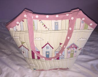 Beach Hut Quilted Tote Bag