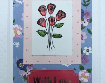 Handmade Birthday Card, flowers, vintage, roses