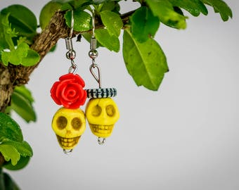 Man and Woman couple yellow love skulls earrings