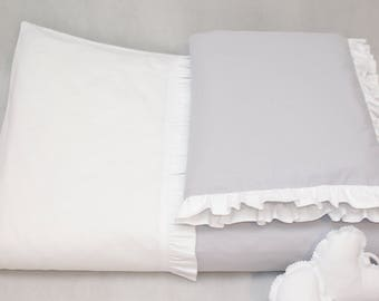 Grey&white Baby bedding /bedding set/ pastel crib bedding /baby duvet cover