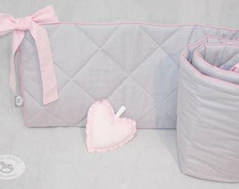 Quilted grey-pink bumper, cot bumper, grey bumper,