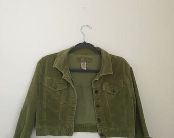Lime Green Cropped Corduroy Jacket