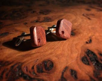 Forest Oak and sterling silver (with resin inlay) - handcrafted cufflinks