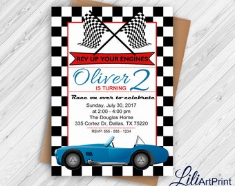 Race Car Birthday Invitation, Race Car Party Invite, 2nd Birthday Invitation, Vintage Race Car Invitation, Digital file.(2)