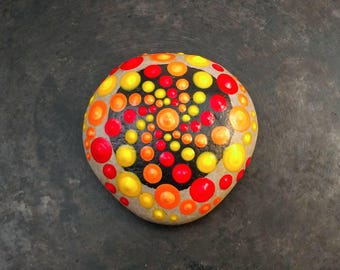 Mandala Stone, Meditation Stone, Yellow Mandala,