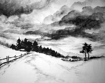 Japanese ink painting Suibokuga Sumi-e Japanese art Landscape Rice paper BlackWhite Picture as a gift Painting for interior winter clouds