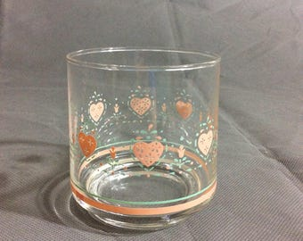 "Vintage Corelle by Corning Forever Yours Juice Drinking Glass Pink Heart Theme 3"" high"