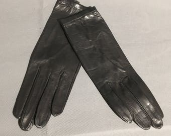 Vintage Black Italian Soft Leather Gloves Size 7
