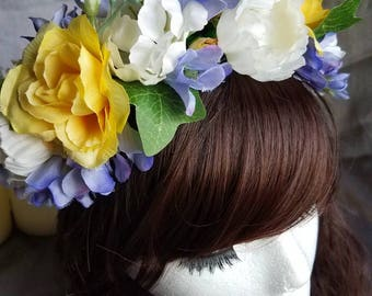 Wisteria and Roses Flower Crown