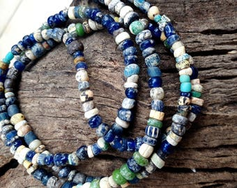Authentic! Ancient Egyptian faience mummy iridescent Glass beads 600-300 B.C.  , Ancient bead. Ancient Egypt