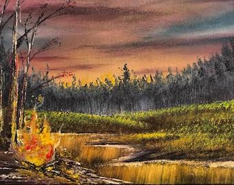 Minnesota Sunset Oil Painting