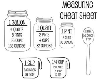 Measurement Cheat Sheet SVG | Kitchen SVG | Measurement SVG | Cutting Board svg | Cut File | Cutting File | Cooking svg