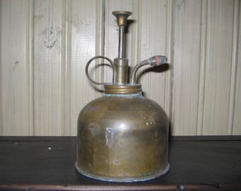 Vintage Brass ATOMIZER Plant Mister Spray Pump Can- Marked 333 - HONG KONG