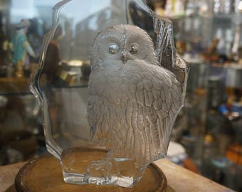 Numbered and signed MATS JONASSON Crystal OWL owls