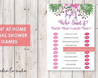 Who Said It? Bride or Bride Version. Bridal Shower Game. Instant Download. Printable Bridal Shower Game. Pink and Purple Flowers. - 03