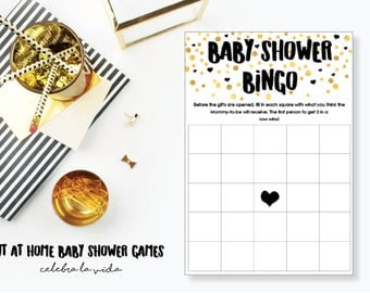 Baby Shower Bingo. Baby Shower Game. Instant Download. Printable Baby Shower Gender Neutral Game. Gold and Black.