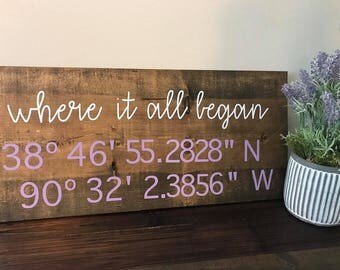 Coordinates Sign (Where it all began, My happy place..., etc.)