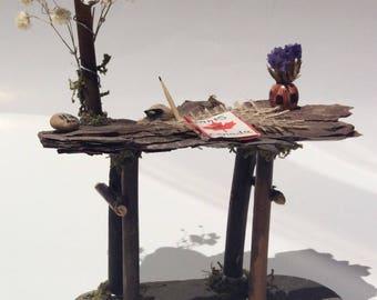 Fairy garden accessory, fairy desk, Canada theme