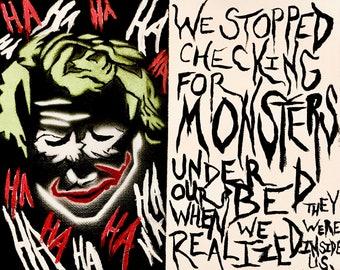 "The Joker ""Batman"" Acrylic Canvas Painting -- original content -- superhero / villain art"