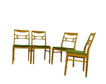Vintage upholstered Chair, Chair from Sweden in oak, bleached. Set of 4