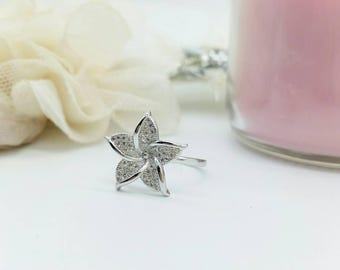 Miss K. Collection Platinum Plated Hibiscus Flower Cubic Zirconia Statement Ring