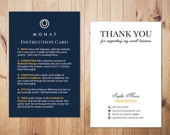 PERSONALIZED Monat Care Instruction, Monat Care Card, Monat Thank you card, Fast Free Personalization, Custom Monat Hair Care Card MN01