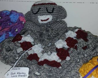 Sock Monkey Lovie Blanket