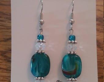 Stunning Teal Glass Dangle Earrings!