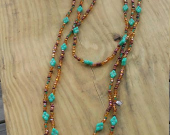 Brown and turquoise long length