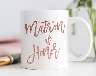 Pink Glitter Matron of Honor Gift, Mug for Matron of Honor, Matron of Honor Sister, Ask Maid of Honor, Will You Be My Matron of Honour Gift