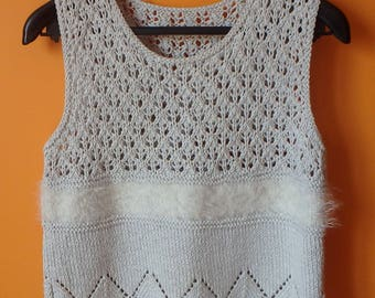 Hand Knitted White Openwork Vest Lacy Pattern Cotton