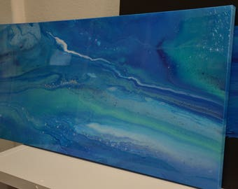 Acrylic Pour Abstract Painting Resin coated on canvas Abstract Art