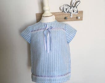 Vintage 60s/70s dress baby girl striped White and blue, 3/6 months