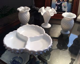Vintage Milk Glass Fenton Candy Dish/ Ashtray