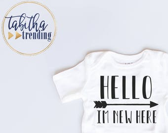 Hello I'm New Here Coming Home Outfit Infant White Bodysuit (SKU 9)
