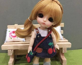 Lovely Cherry Overalls for lati yellow/ PukiFee bjd