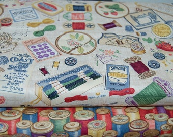 Makower Haberdashery Sewing Notions & Cotton Reels Cotton Fabric Fat Quarter