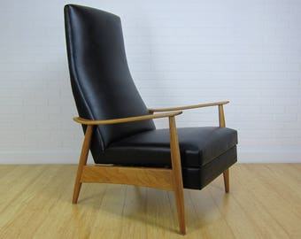 Early Milo Baughman Highback Recliner Lounge Chair for James Inc
